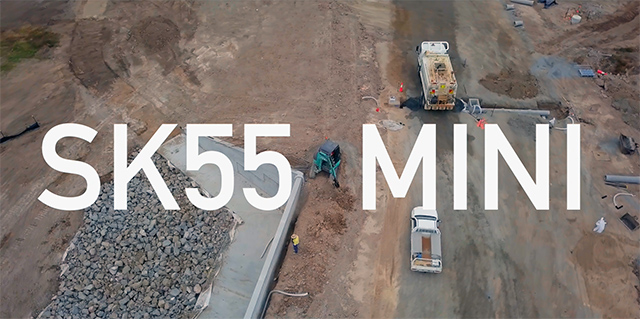 Kobelco drone footage of the SK55SRX-6 Mini